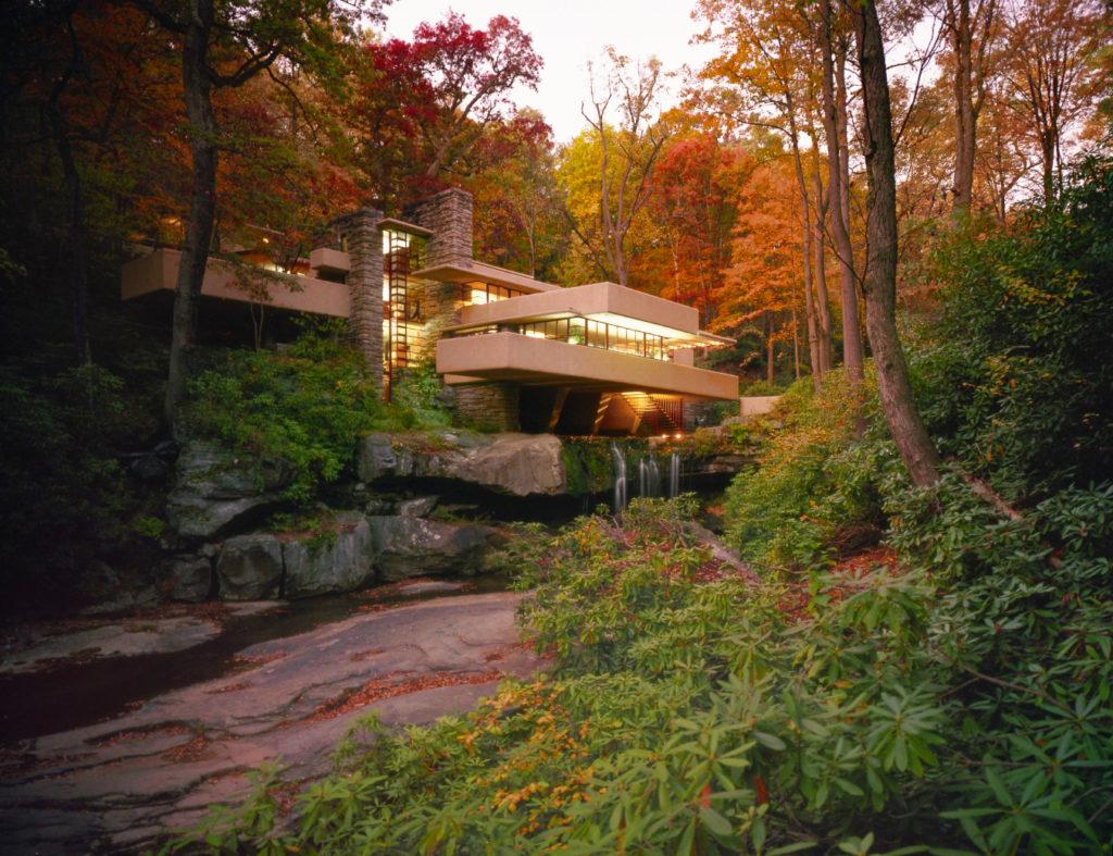 Frank Lloyd Wright's Fallingwater amid the fall foliage in Pennsylvania's Laurel Highlands