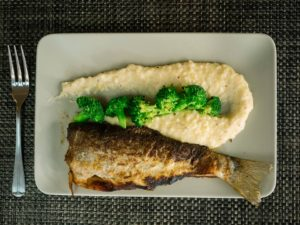 trout dish on plate