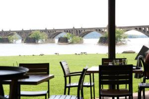 Enjoying the view from John Wright Restaurant.