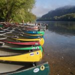 canoes along bank of New River