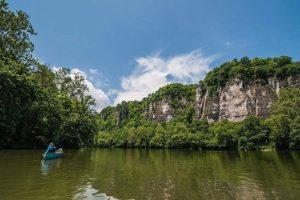 man in canoe on New River