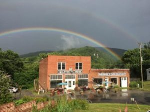Palisades building with rainbow